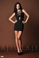 Платье с черной блестящей сеткой на груди