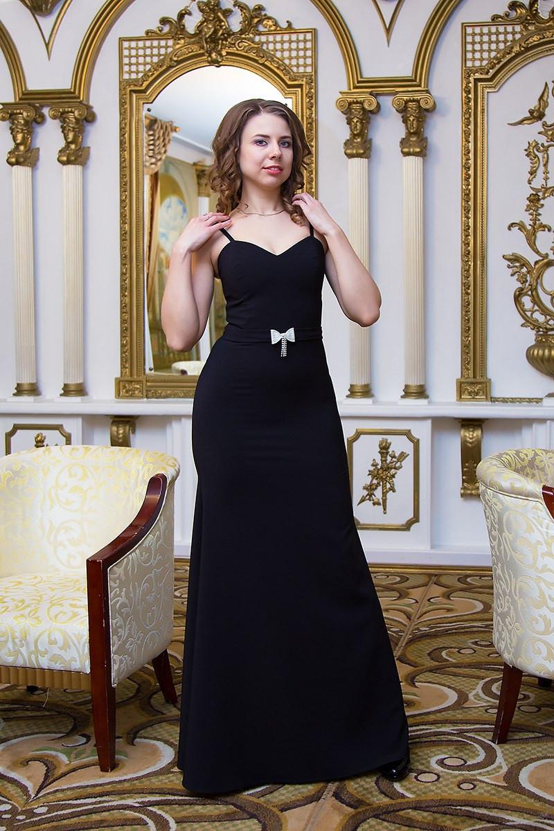 Платье женское вечернее на бретельках - Черный