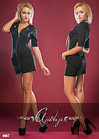 Платье мини на молнии французский трикотаж
