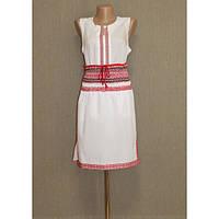 Вышитая белая юбка с орнаментом в красных тонах