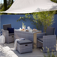 Садовая мебель George Home Borneo Cube 5 Piece Bistro Set - Grey