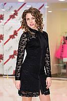Платье женское гипюровое с бантом - Черный