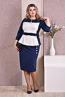Синий белый женский костюм батал двойка пиджак с юбкой деловой, до 74 размера