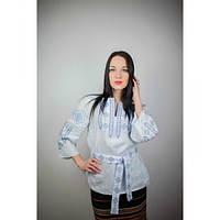 """Вышитая блузка """"Традиция"""" голубого цвета"""