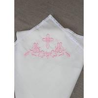 Набор для крещения с вышивкой розового цвета