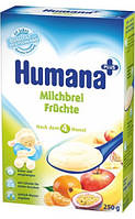 Сухая фруктовая молочная кукурузно-рисовая каша HUMANA для детей от 6-ти месяцев 250 г