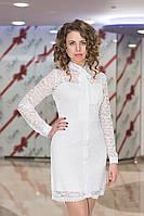 Платье женское гипюровое с бантом - Молочный