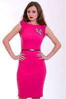 Нарядное розовое платье с оригинальными рукавами  и украшением на груди