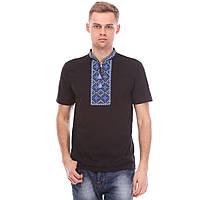 Черная футболка вышиванкас синим орнаментом, фото 1