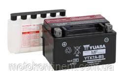Аккумулятор для мотоцикла  YUASA YTX7A-BSсухозаряженный AGM 6Ah 105A 150x87x94, фото 2