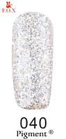 Гель-лак F.O.X. №040 прозрачный с мелкимии крупными серебряными блестками  6 ml