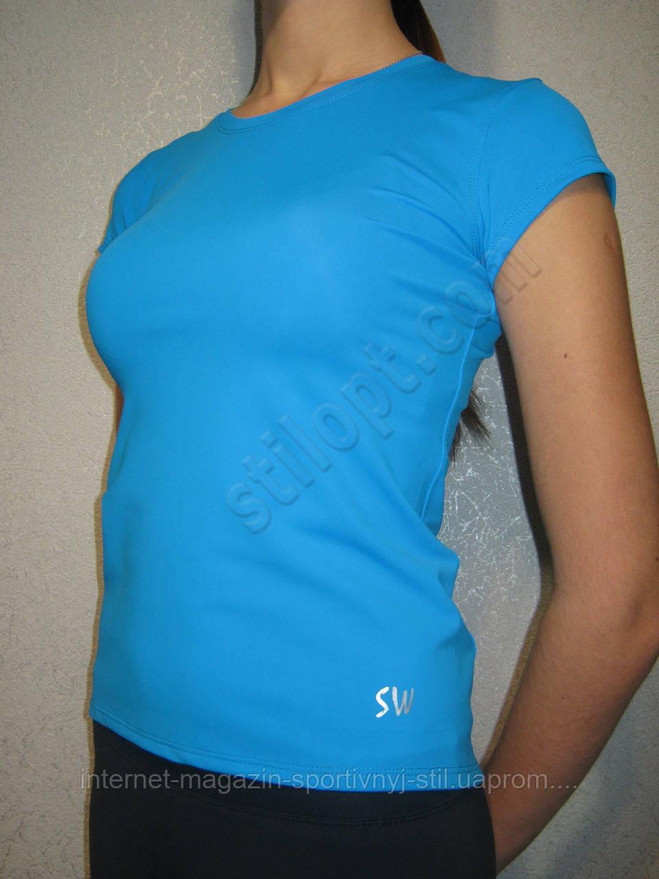 Футболка женская спортивная бифлекс голубая