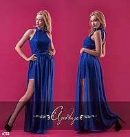 Синее вечернее платье со съемной юбкой 6755
