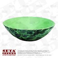 Круглое глубокое декоративное блюдо из перламутра зелёного цвета (фруктовница)