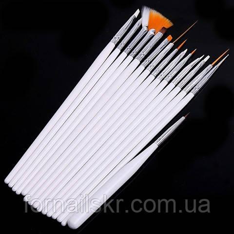 Набор кистей для росписи ногтей 15шт ( белая ручка) - Beautiful Nails в Кривом Роге