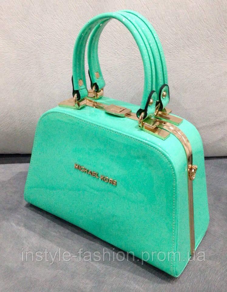 Бирюзовая лаковая сумка майкл корс модная сумка весна 2016