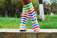 Женские тканевые сапожки в разноцветную полоску , фото 1
