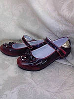 """Лакированные туфли для девочки ТМ """"YES""""(бордовый) р-р 33, фото 1"""