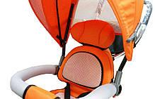 Детский трехколесный велосипед-коляска Maxi Trike оранжевый, надувные колеса, фото 3