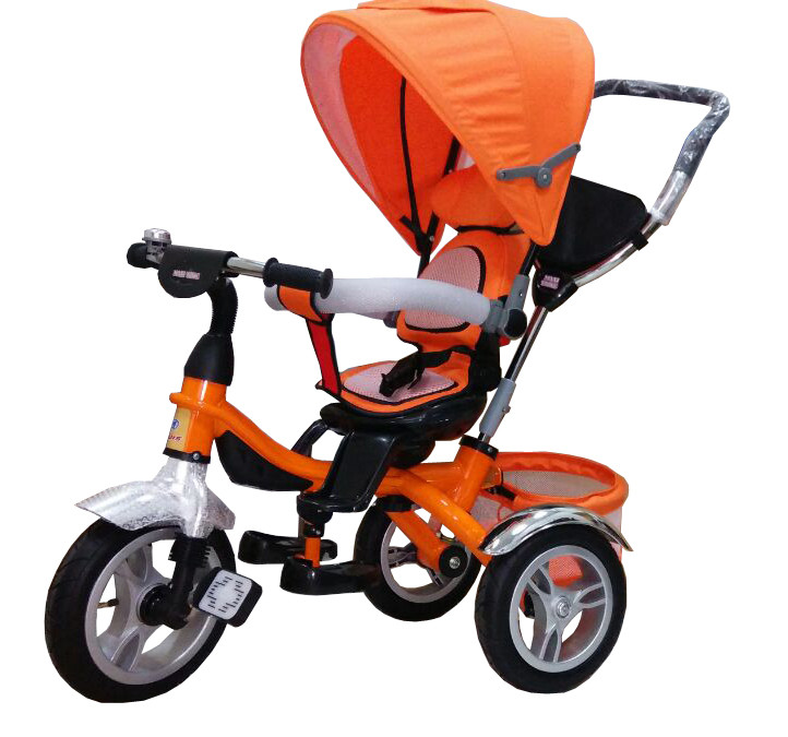 Детский трехколесный велосипед-коляска Maxi Trike оранжевый, надувные колеса