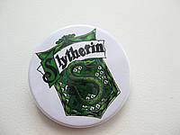 Значок с гербом факультета Slytherin (Слизерин), значок фаната Гарри Поттера, значок поттеромана