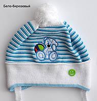 Детская шапка для малыша с помпоном весенняя, фото 1