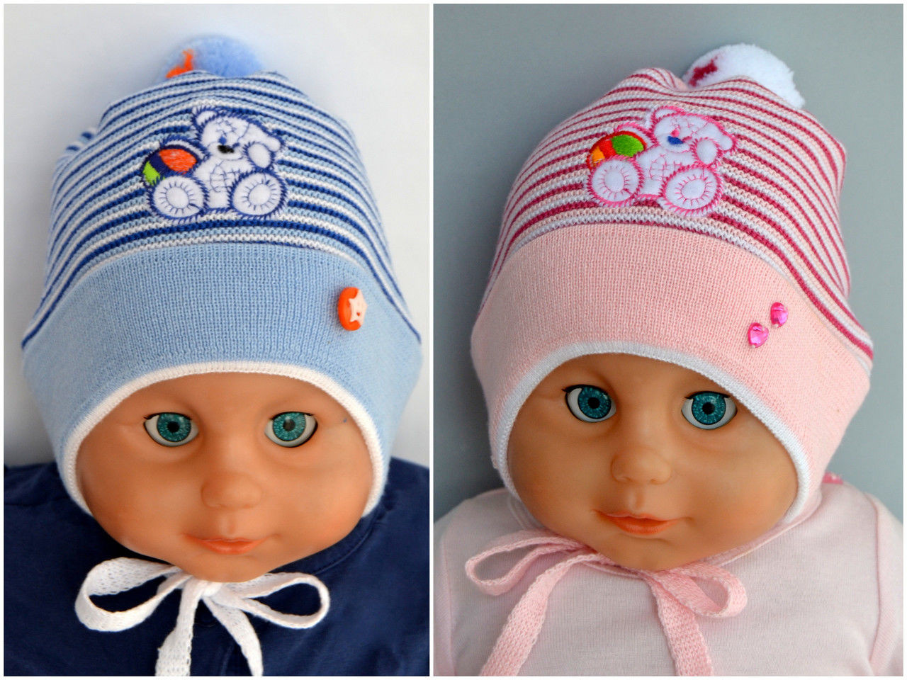 Вязаная детская шапка до года 6-18 мес.