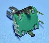 Энкодер с кнопкой EC11 без резьбы, низкий, ручка шлицы 11,5мм, 30біт  Тайвань