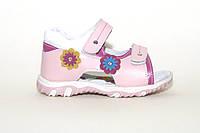 Детские кожаные босоножки на липучках. Розовые босоножки для девочки.