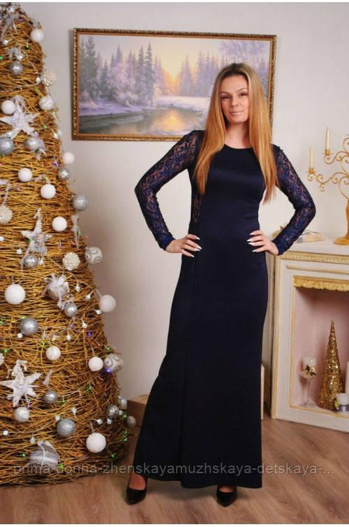 Длинное платье с гипюровой спиной темно-синее