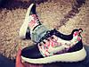 Кроссовки Nike Roshe Run черные с цветочками