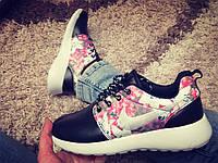 Кроссовки Nike Roshe Run черные с цветочками, фото 1