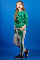 СПОРТИВНЫЙ КОСТЮМ ОДРИ (ЗЕЛЕНЫЙ), полированный трикотаж, крой свободный, рукав три четверти, 46-54 размера, фото 1