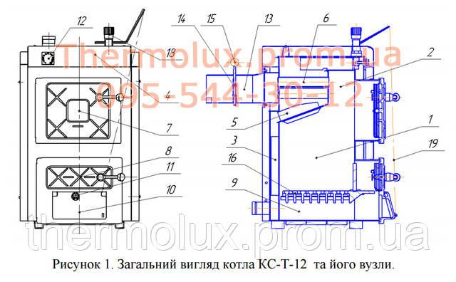 Схема твердотопливного котла Термобар КС-Т-12