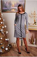 Женское платье до колена светло-серое, фото 1