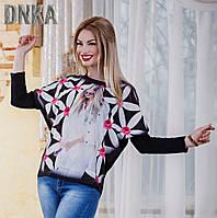Асимметрическая кофта-туника  с девушкой и цветами.