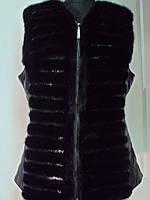 Жилет из хвостиков норки+кожа по бокам-спинка норковая длина 65см. р 46 48