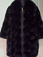 Полушубок из вязаной норки длина-65см на молнии цвет черный  ворот-песец 3/4 рукав 50;52;54;56;58;60;62