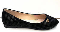 Балетки модные с узором черные KF0244
