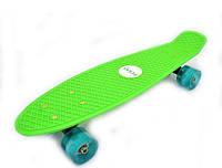 Скейтборд/ скейт Пенни борд (Penny Board) зеленый со светящимися колесами