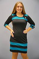 Шанель. Платья больших размеров. Черный+бирюза., фото 1