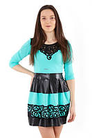 Платье с аппликацией и юбкой из экокожи, фото 1