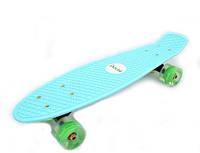 Скейтборд/ скейт Пенни борд (Penny Board) Pastel Mint со светящимися колесами