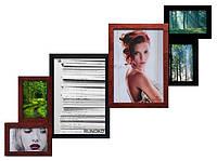 Рамка для фотографий из дерева на 6 фото (длинна 1 метр по диагонали) (разные цвета)