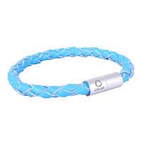Collar Glamour кожаный браслет на руку синий 18см