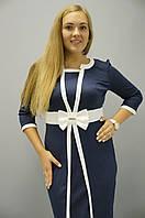 Элиз. Платья больших размеров. Синий + белый, фото 1