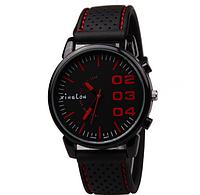 Мужские наручные часы Xinslon большим циферблатом 4см (с красными цифрами)