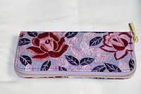 Стильный кошелек сиреневый с розами