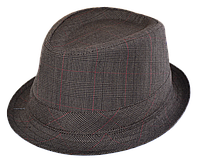 Шляпа челентанка комби костюмка коричневая