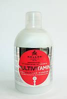 Шампунь энергетический для ослабленных волос с экстрактом женьшеня и маслом авокадо Multivitamin1000 мл Kallos, фото 1